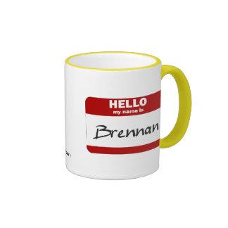 Hello My Name Is Brennan (Red) Ringer Mug
