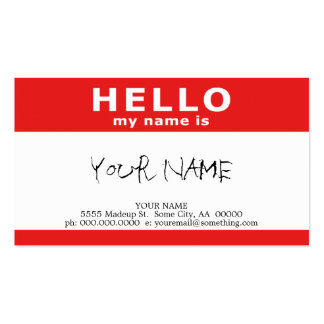 hello my name is : red pack of standard business cards