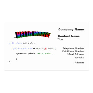 Hello World geek greeting Java Pack Of Standard Business Cards