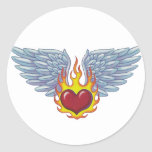 Hells Flames and Angel Wings Round Sticker