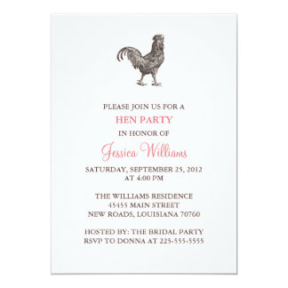 Hen Party 13 Cm X 18 Cm Invitation Card