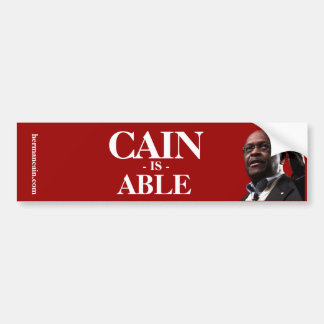 Herman Cain: Cain Is Able - Red Background Bumper Sticker