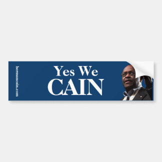 Herman Cain: Yes We CAIN - Blue Background Bumper Sticker