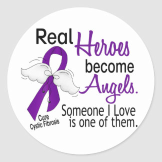 Heroes Become Angels Cystic Fibrosis Round Sticker
