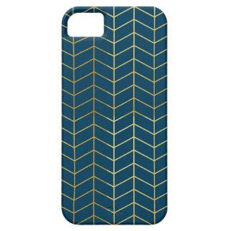 Herringbone Pattern Faux Gold Foil Navy Geometric iPhone 5 Cases