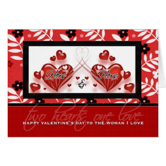 Hers and Hers Red Valenine Hearts | LGBT Greeting Card