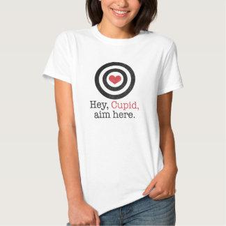 Hey Cupid Aim Here Funny Valentine T-shirt