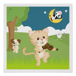Hey Diddle Diddle Nursery Rhyme Poster