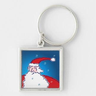 Hi Ho Santa Silver-Colored Square Key Ring