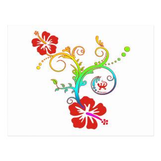 Hibiscus Decor Coloured Postcard