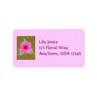 Hibiscus on Bamboo Address Label