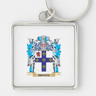 Hickox Coat of Arms - Family Crest Silver-Colored Square Key Ring