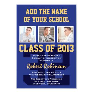 High School Athlete Sports Graduation Blue Gold 13 Cm X 18 Cm Invitation Card