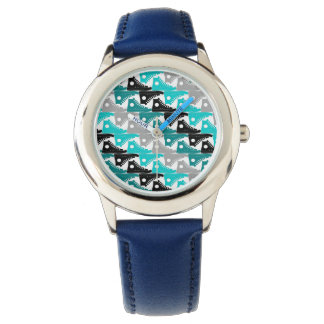 High Tops Teal-n-Black Shoes Wristwatch