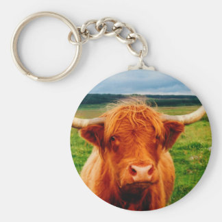 Highland Cow Basic Round Button Key Ring