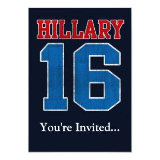 Hillary 2016, Grunge Retro Political Party 13 Cm X 18 Cm Invitation Card