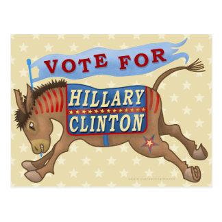 Hillary Clinton President 2016 Democrat Donkey Postcard