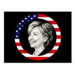 hillary clinton. us flag. picturesque. postcard