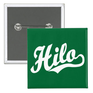 Hilo script logo in white 15 cm square badge
