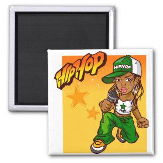 hip hop rapper girl green orange cartoon square magnet