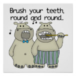 Hippos Brush Your Teeth Poster