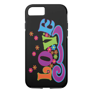 Hippy Flower Power Love Word Art Colorful Design iPhone 7 Case