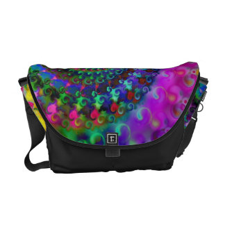 Hippy Rainbow Fractal Pattern Courier Bag