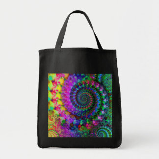 Hippy Rainbow Fractal Pattern Grocery Tote Bag