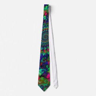 Hippy Rainbow Fractal Pattern Tie