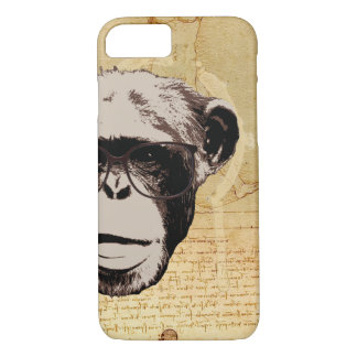 Hipster Nerdy Chimp in Glasses iPhone 7 Cases