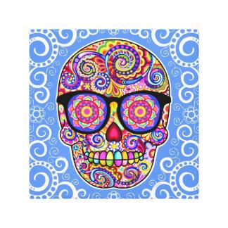 Hipster Sugar Skull Art Stretched Canvas Print