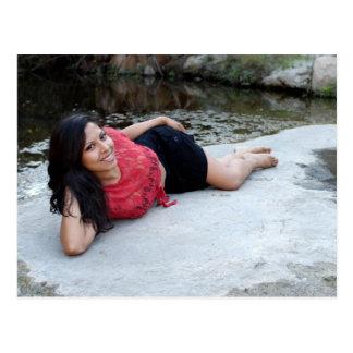 Hispanic Woman Creek Postcard