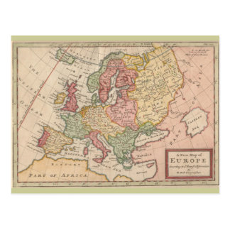 Historic 1721 Map of Europe Postcard