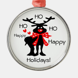 HO HO HO Happy Holidays reindeer Premium  Ornament