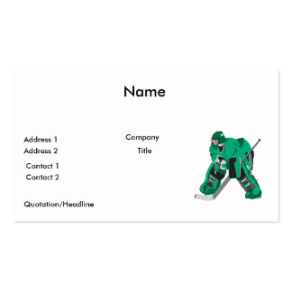 hockey goalie ready pack of standard business cards