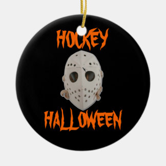 HOCKEY HALLOWEEN ROUND CERAMIC DECORATION