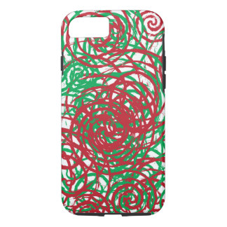 Holiday Chaos Red Green Abstract Swirl Design iPhone 7 Case