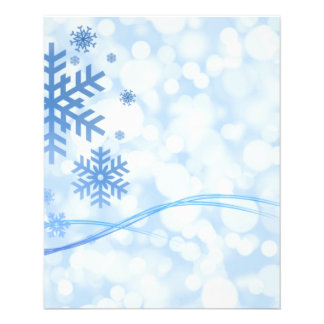 Holiday Christmas Snowflake Design Blue White 11.5 Cm X 14 Cm Flyer