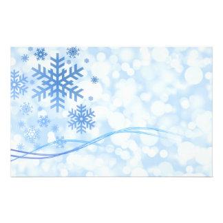 Holiday Christmas Snowflake Design Blue White 14 Cm X 21.5 Cm Flyer