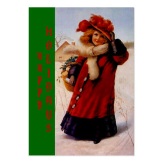 HOLIDAY GIRL W/ BASKET TAGS ~ GIFT TAG CARDS PACK OF CHUBBY BUSINESS CARDS