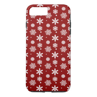 Holiday Red White Snowflakes Pattern 1 iPhone 7 Plus Case
