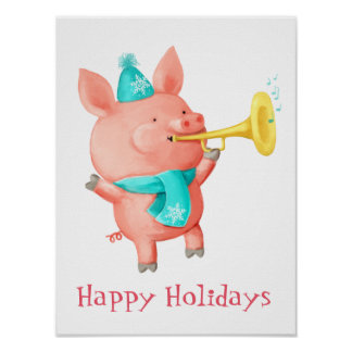 Holidays Cute Pig Poster