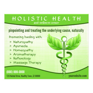 "Holistic Health Green Caduceus Symbol 8.5"" x 11"" 21.5 Cm X 28 Cm Flyer"