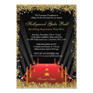 Hollywood Gala Ball Red Carpet Glitter 13 Cm X 18 Cm Invitation Card