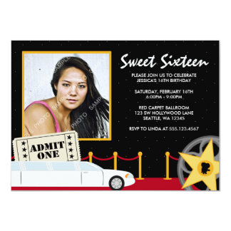 Hollywood Red Carpet Sweet 16 Photo Invitation