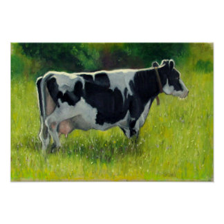 Holstein Dairy Cow in Pasture, Oil Pastel Painting Poster
