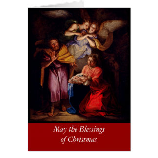 Holy Family with Angels by Coypel Greeting Card