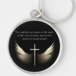 Holy Spirit Wings with Cross and Scripture Verse Silver-Colored Round Key Ring