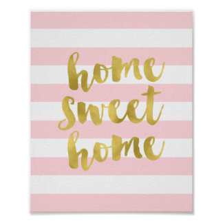 Home Sweet Home Gold and Pink | Art Print