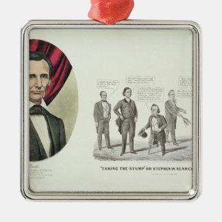 Hon. Abraham Lincoln Silver-Colored Square Decoration